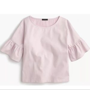 J. Crew Pink Top with Ruffled Sleeves